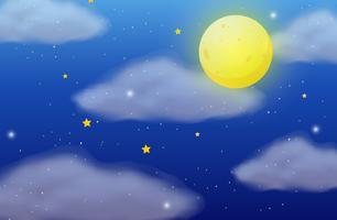 Scena di sfondo con luna piena e stelle