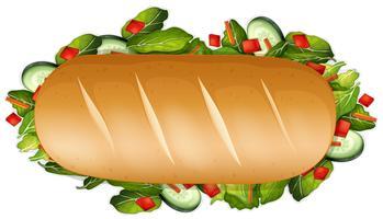 Un panino sano su sfondo bianco vettore