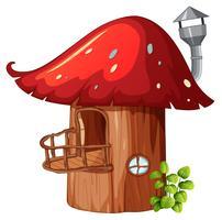 Casa in legno fungo incantato vettore
