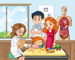 Baby Check up con il dottore vettore