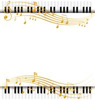 Modello di bordo con tastiere di pianoforte e note musicali vettore