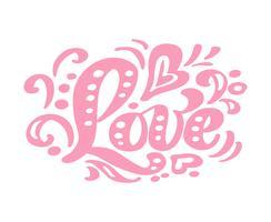Amore calligrafia rosa lettering testo vettoriale vintage. Per la pagina di elenco design modello di arte, stile opuscolo mockup, copertura idea banner, volantino stampa opuscolo, poster