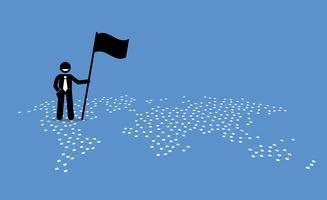 Un uomo d'affari che tiene una bandiera e in piedi in cima a Stati Uniti di una mappa del mondo. vettore