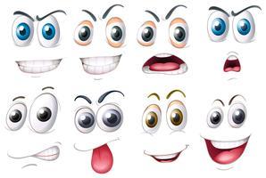 Diversi set di occhi con emozioni vettore