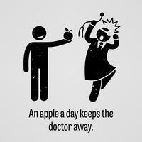 Una mela al giorno mantiene il medico Away Funny Version Stick Figure Pictogram Sayings. vettore