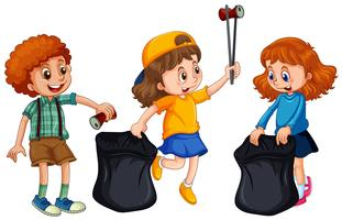 Bambini che raccolgono spazzatura su fondo bianco vettore