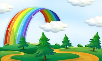 Bellissimo paesaggio con arcobaleno vettore