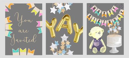 Set di progettazione di biglietti d'auguri di compleanno. vettore