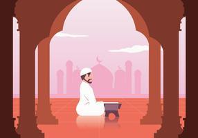 Musulmano che legge il vettore del Corano
