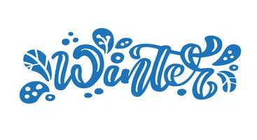 Inverno d'epoca blu calligrafia lettering testo vettoriale. Per la pagina di elenco design modello di arte, stile opuscolo mockup, copertura idea banner, volantino stampa opuscolo, poster