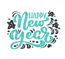 Testo di vettore dell'iscrizione di calligrafia dell'annata verde di felice anno nuovo. Per la pagina di elenco design modello di arte, stile opuscolo mockup, copertura idea banner, volantino stampa opuscolo, poster