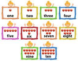 Set di ragazza con numero da uno a dieci banner