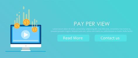 Pay per view banner. Riproduci video sul computer dopo aver ottenuto i soldi. Illustrazione piatta vettoriale
