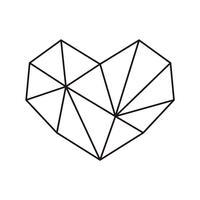 Struttura geometrica di forma del cuore di simbolo di vettore con il posto per testo. Icona di amore per biglietto di auguri o matrimonio, San Valentino, tatuaggio, stampa. Vector l'illustrazione di calligrafia isolata su una priorità bassa bianca