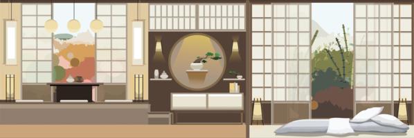 Soggiorno in stile giapponese con mobili vettore