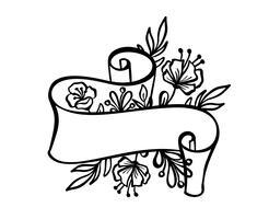 Cornice d'epoca con nastro e posto per il testo con fiori tropicali e foglie su sfondo bianco, illustrazione disegnata a mano di vettore per biglietto di auguri o matrimonio, vacanza banner, tatuaggio, stampa