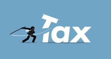 Taglio delle tasse da parte dell'uomo d'affari. vettore