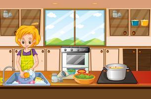 Donna che fa i piatti in cucina vettore