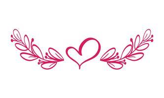 Vettore di divisori isolato. Linea vintage orizzontale con cuore. Regole di pagina decorative. La separazione seleziona il testo