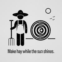 Fare il fieno mentre il sole splende. vettore
