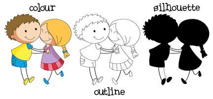 Diversi tipi di grafica della coppia felice