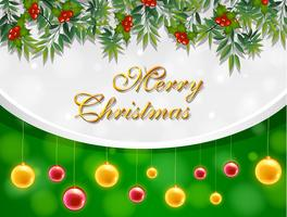 Merry christmas card con palline gialle e rosse