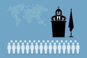 Presidente del robot e governo artificiale intelligente che controlla il paese e il mondo dall'essere umano. vettore