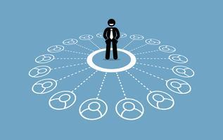 Uomo d'affari con molti contatti e una solida rete aziendale.