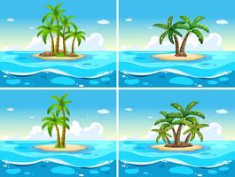 Quattro scene con l'isola nel mare
