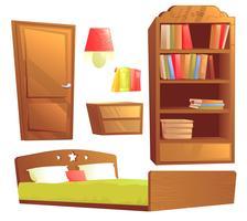 Arredamento moderno per l'interior design della camera da letto. Insieme dell'illustrazione del fumetto di vettore