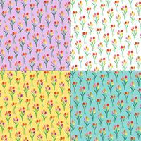 mazzi di tulipani motivi floreali su sfondi pastelli vettore
