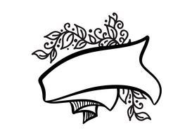Cornice d'epoca con nastro e posto per il testo con fiori tropicali e foglie su sfondo bianco, illustrazione vettoriale per biglietto di auguri o matrimonio, vacanza, tazza, stampa