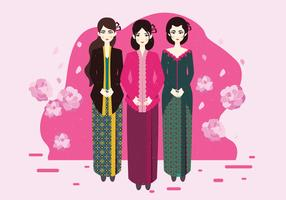 Signora in Kebaya Kartini Vector