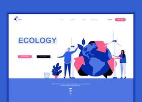 Concetto di modello di progettazione di pagina web piatto moderno di ecologia terra