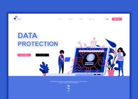 Moderno concetto di modello di design piatto pagina web di protezione dei dati