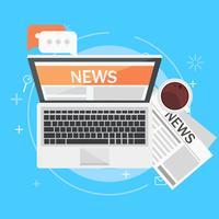 Banner online news. Computer, caffè, giornali. Illustrazione piatta vettoriale
