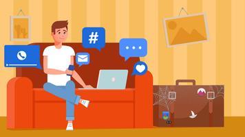 Un uomo in vacanza è seduto sul divano con un telefono e un laptop. La valigia è nell'angolo nella polvere. Illustrazione piatta vettoriale