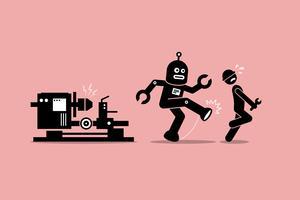 Il meccanico del robot allontana un operaio tecnico umano dal suo lavoro in fabbrica.