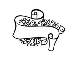 Cornice d'epoca con nastro e posto per il testo con fiori tropicali e foglie su sfondo bianco, illustrazione vettoriale per biglietto di auguri o matrimonio, vacanza, tatuaggio, stampa