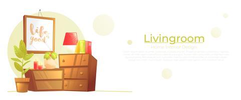 Insegna di concetto di interior design del salone. Mobili dalla stanza. Illustrazione di cartone animato vettoriale