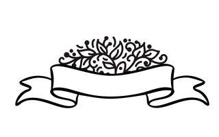 Cornice bandiera d'epoca con nastro banner e posto per il testo con fiori tropicali e foglie su sfondo bianco, illustrazione vettoriale per biglietto di auguri o matrimonio, vacanza, etichetta, stampa