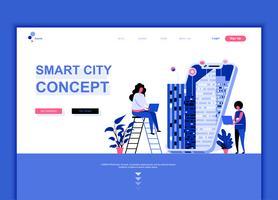 Moderno concetto di modello di design di pagina web piatta della tecnologia Smart City