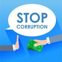 Ferma il banner di corruzione. Un uomo d'affari dà soldi a un uomo e lui rifiuta. illustrazione piatta