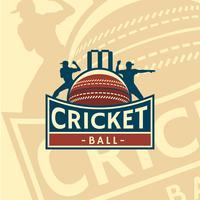 Emblema del logo palla da cricket vettore