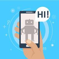 Chat bot sul telefono in mano. Banner. Illustrazione piatta vettoriale