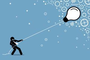 Uomo d'affari che tira una lampadina galleggiante volante su una corda. vettore