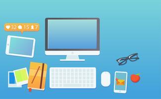 Il posto di lavoro di un blogger o di un seo funzionante. Computer e avvisi sul telefono e messaggi sul telefono. Lavora sulle statistiche del blog. illustrazione piatta