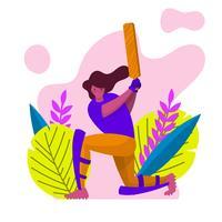 Illustrazione moderna piana di vettore del giocatore di cricket della donna
