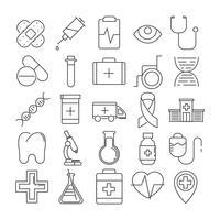 Set di 25 icone di linea di tema medico vettore