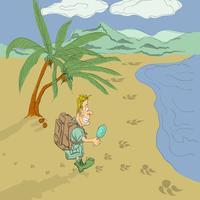 Guy emozionante avventura sulla spiaggia vettore